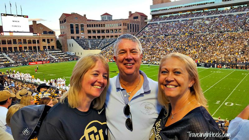 When traveling solo, I meet some amazing people, including these two very good friends from England, who recently visited Colorado, experiencing their first college football game. Go CU Buffs!