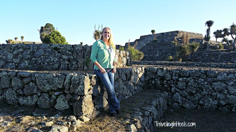 Traveling Solo, exploring the Cantona Archaeological Ruins near Puebla, Mexico, with a group tour.