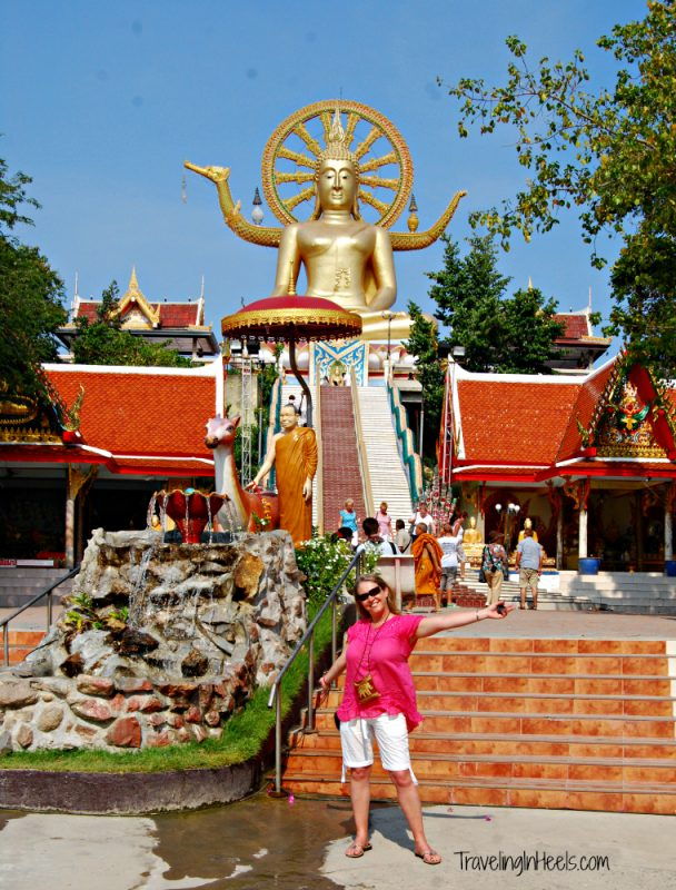 The landmark 12m-tall golden Big Buddha statue at Wat Phra Yai Temple, on a tiny island connected to Ko Samui by a causeway.