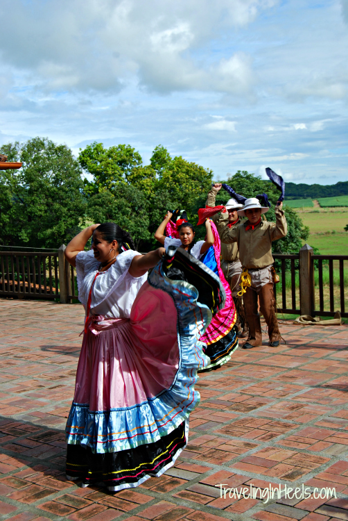 local Costa Rican dancers on the deck of the old Hacienda Palo Verde, now the Palo Verde National Park headquarters