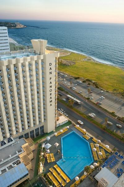 The Mediterranean Sea is located steps away from the Dan Panaroma Tel Aviv Hotel in Israel. TravelingInHeels.com