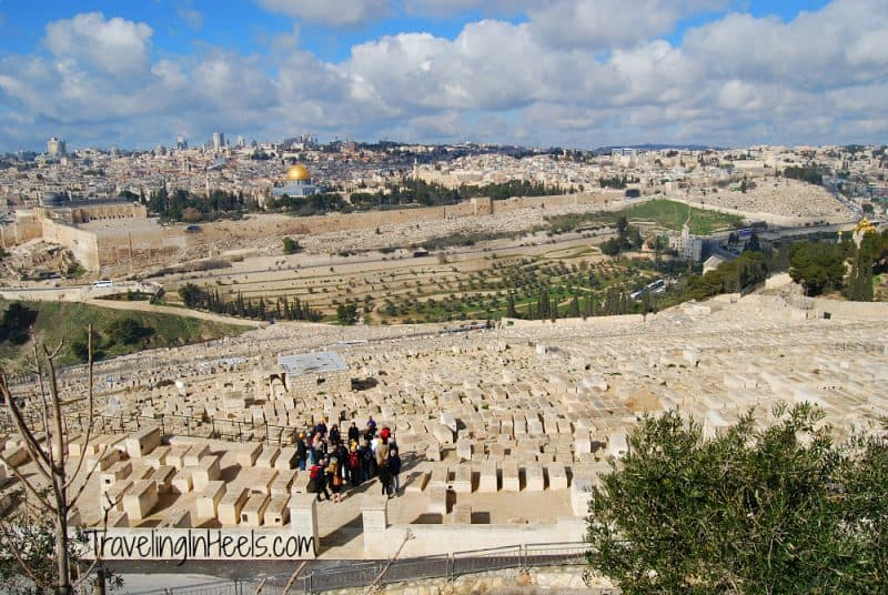 Looking down from Mount of Olives over the Cemetery at Jerusalem, Israel.