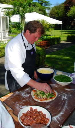 Cooking demonstration of Ruth's Wood Fired Oven Pizza
