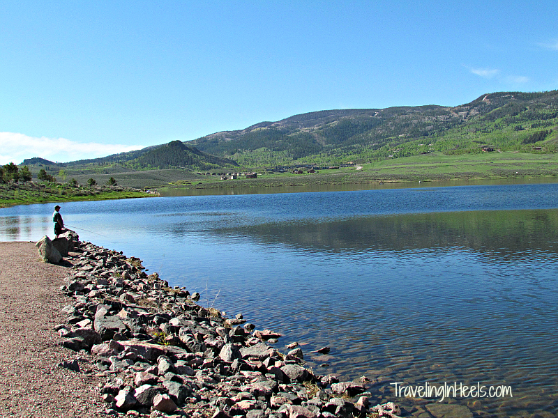 Choose from miles of shoreline when fishing in Steamboat Lake State Park, Steamboat Springs, Colorado.