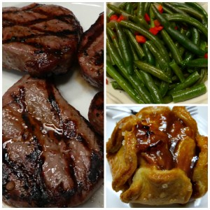 Holiday Helper Gift Package includes: 4 - 4 oz. Top Sirloins, 2 trays of Green Beans, 4 - Stuffed Baked Potatoes, & 4 - Caramel Apple Tartlets