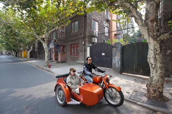 vintage motorcycle sidecar tour of Shanghai, China