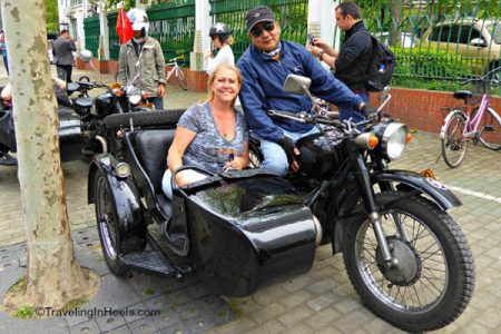 One of our many #BucketListChina experiences, riding in a vintage motorcycle sidecar in Shanghai with our hosts Mandarin Journeys.