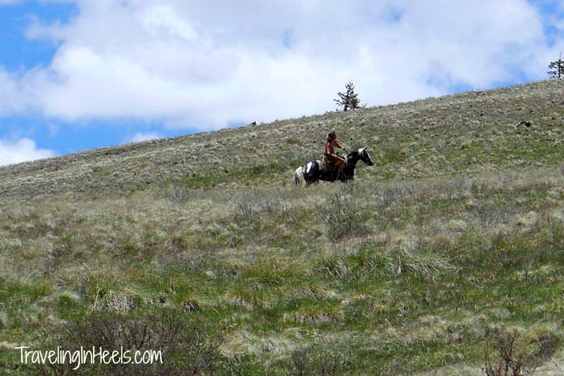 While riding the Cumbres Toltec train, a Native American rode b on his horse.