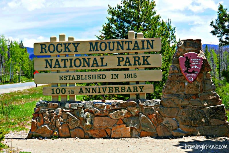 Celebrating 100 years in 2015, Rocky Mountain National Park, sign near Grand Lake, Colorado, entrance
