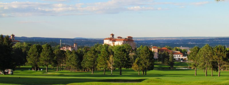 View of The Broadmoor from their historic Golf course in Colorado Springs.