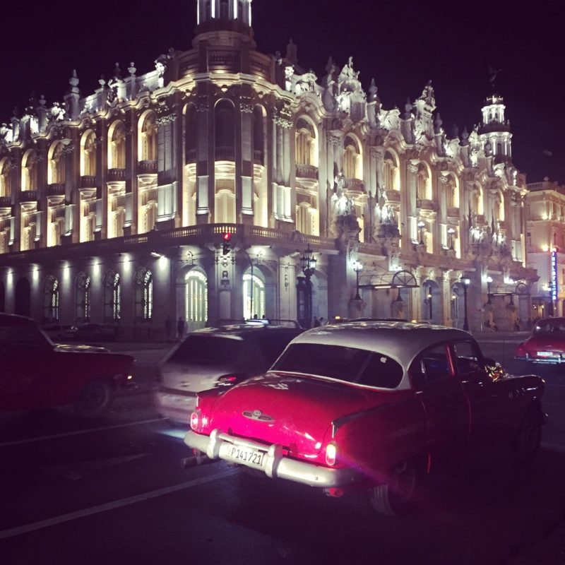 Spanish architecture and classic American cars in Cuba