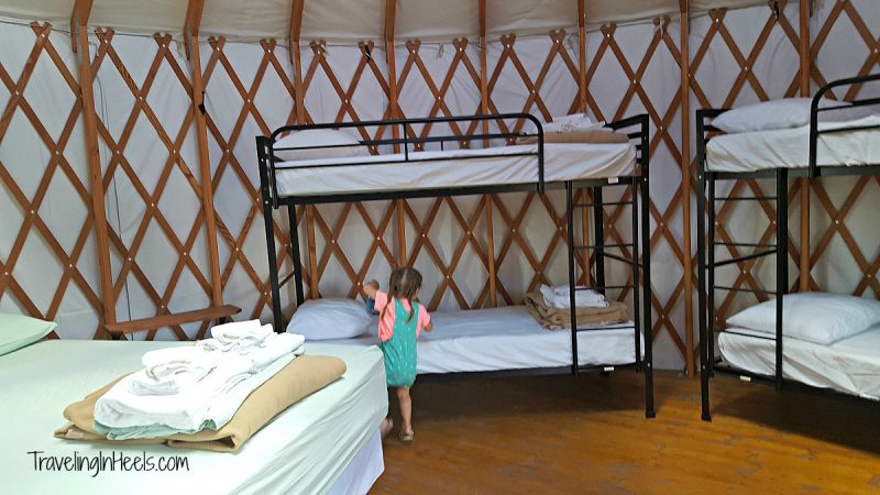 Forget about rolling out your sleeping bag. The Snow Mountain Ranch yurts include a queen size bed and two bunk beds.