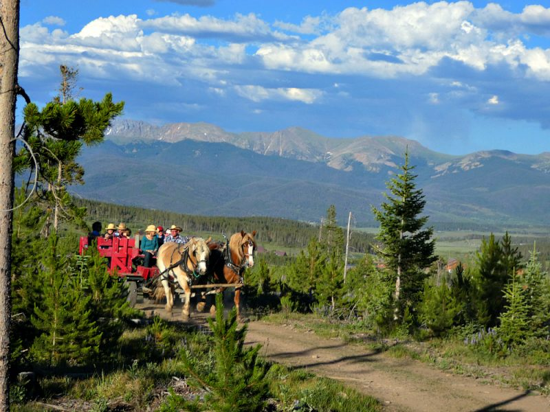 When staying at Snow Mountain Ranch yurts, optional activities include trail rides at Sombrero Stables.