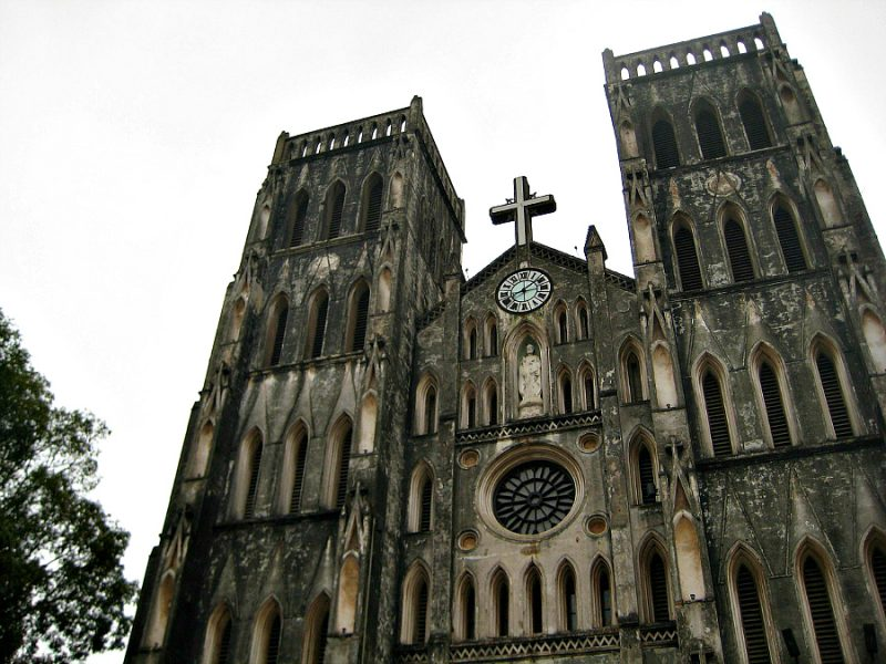 Be sure to visit iconic historic sites in Hanoi, Vietnam, like the Saint Joseph Cathedral.