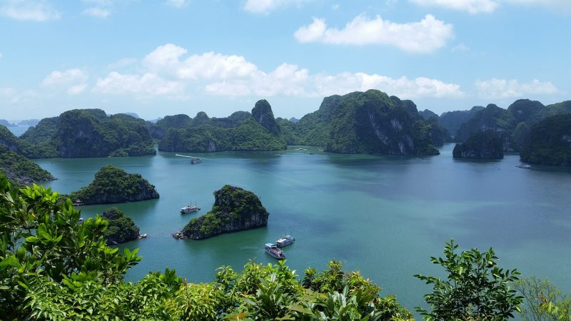 Relax and enjoy the emerald waters of Halong Bay, Vietnam.