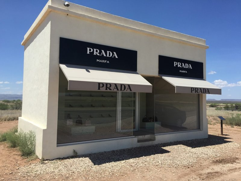 In addition to those mysterious lights, check out Prada Marfa is a permanently installed sculpture by artists Elmgreen and Dragset, situated 1.4 miles northwest of Valentine, Texas.