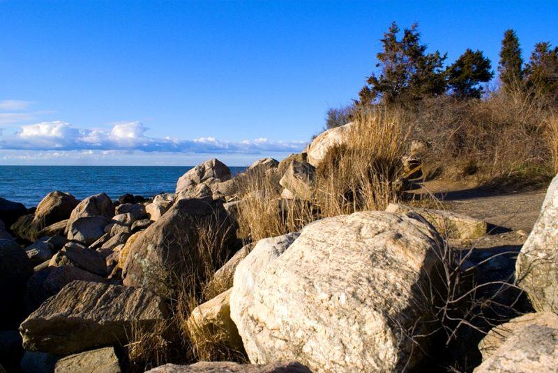 Hammonasset Beach State Park, Rocks at Meigs Point, Connecticut, USA.