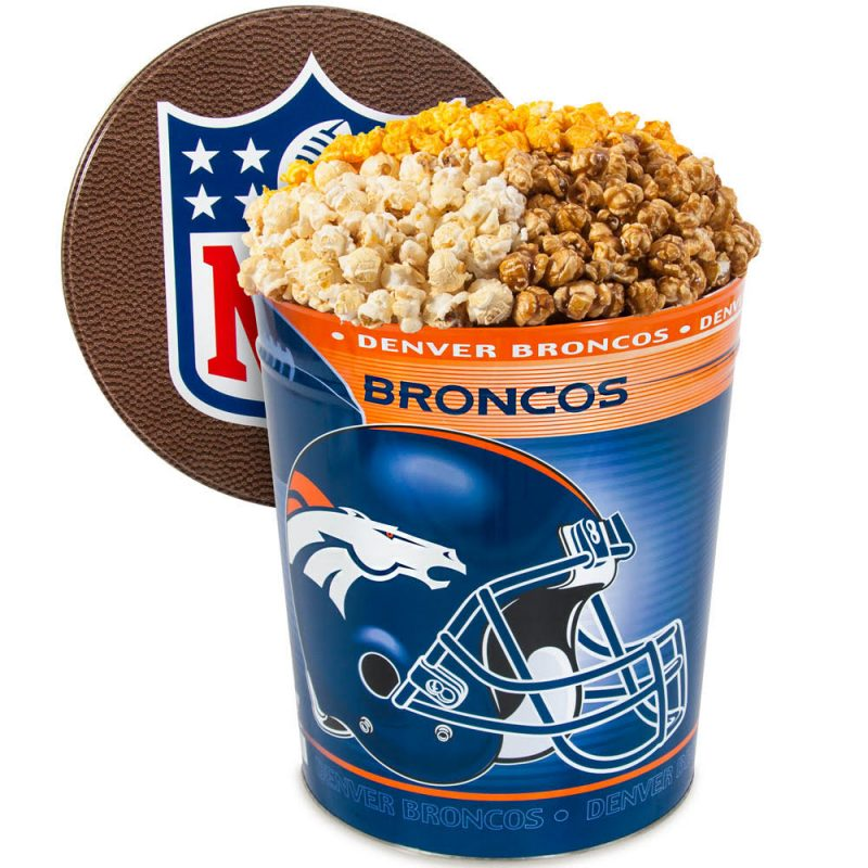 Cheer on your favaorite NFL team AND snack on this Broncos Popcorn Gift Tin