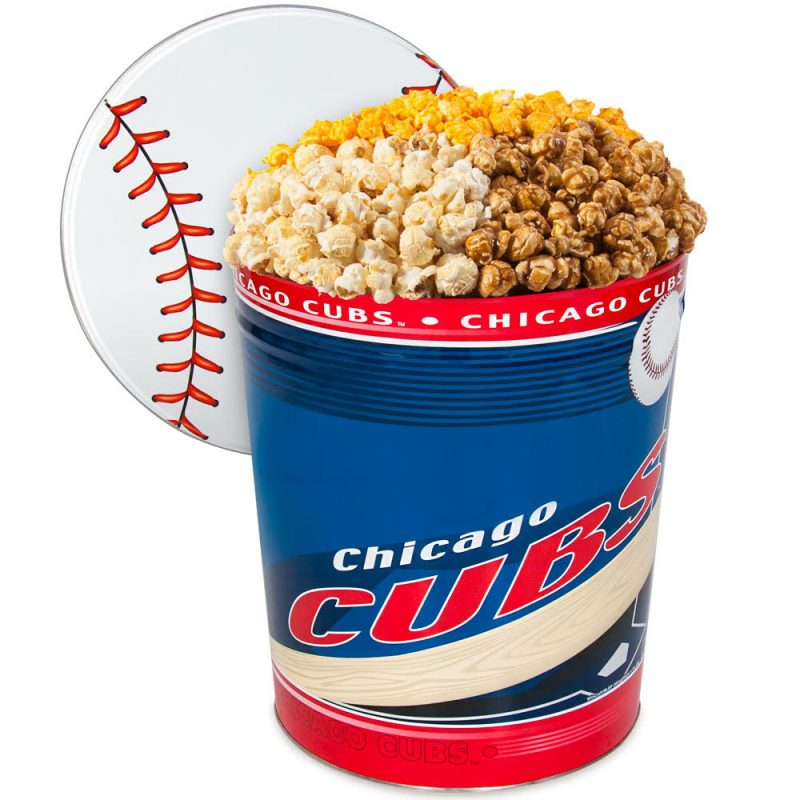 Is your guy a baseball fan? Give him a MLB popcorn gift tin.
