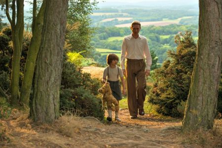 Will Tilston and Domhnall Gleeson in the film GOODBYE CHRISTOPHER ROBIN. Photo by David Appleby. © 2017 Twentieth Century Fox Film Corporation All Rights Reserved