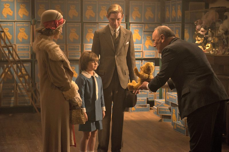 Margot Robbie, Will Tilston, Domhnall Gleeson and Richard Clifford in the film GOODBYE CHRISTOPHER ROBIN. Photo by David Appleby. © 2017 Twentieth Century Fox Film Corporation All Rights Reserved