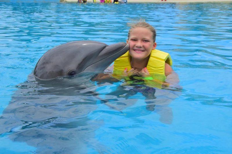 On my granddaughter;s bucket list was swimming with dolphins, one of several family vacation experiences.