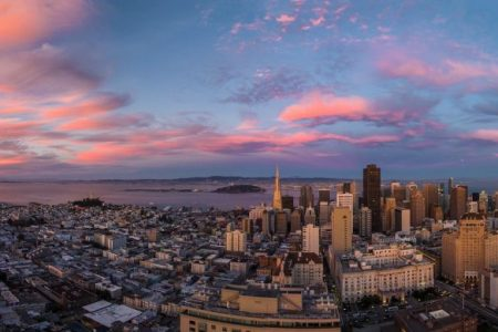 A drone's eye view of San Francisco, California.