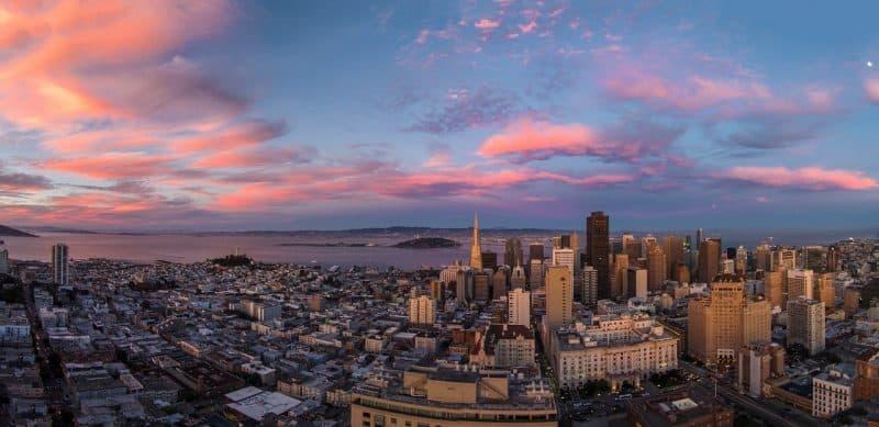 A drone's eye view of San Francisco, California.