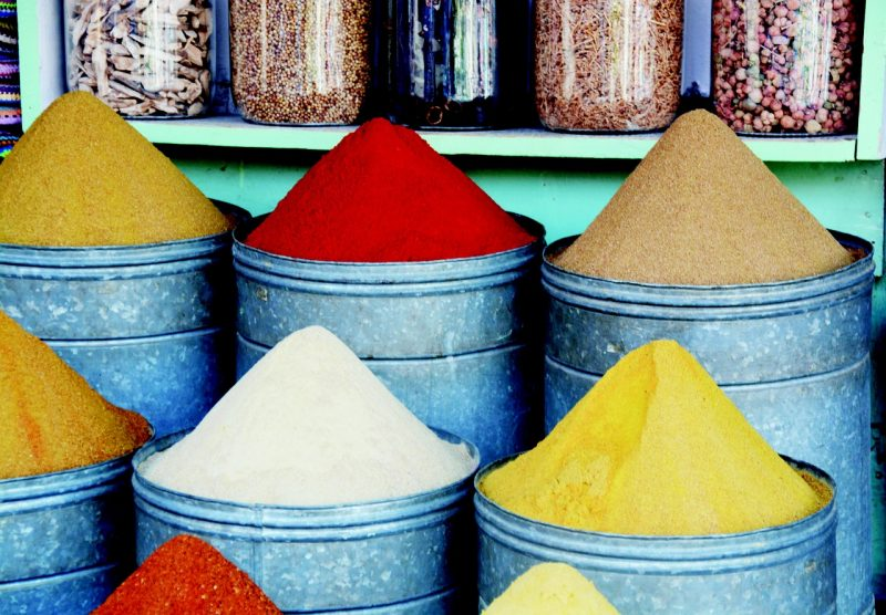 Be cautious -- but don't be afraid to sample the great food in Marrakech and explore its spice markets in Northern Africa.