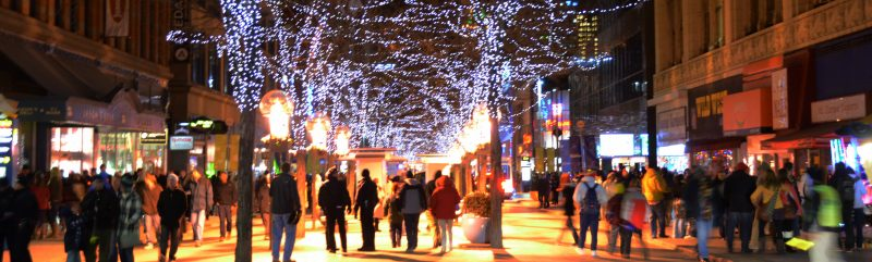 During your Family Friendly New Year's Eve in Denver, Colorado, explore the holiday lights on the 16th Street Mal