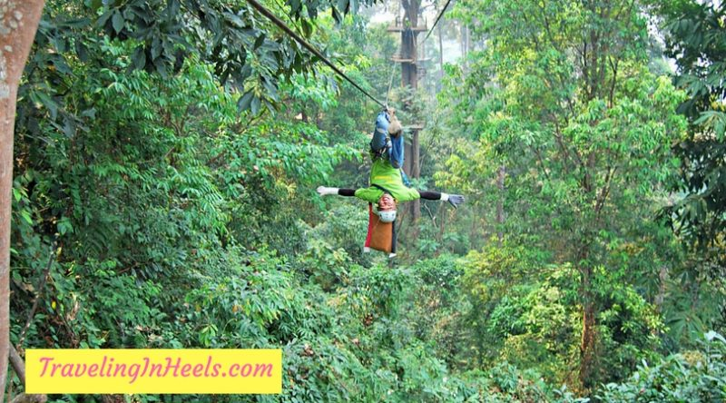 Our crazy guide demonstrated upside down zip lining at Jungle Flight, near Chiang Mai, Thailand.
