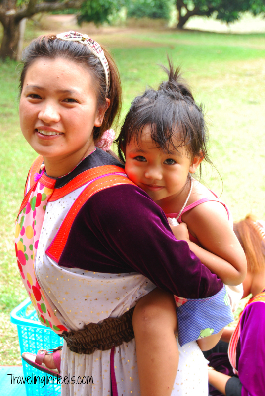 Beautiful Thai mom and her daughter near Lisu Lodge, Thailand.