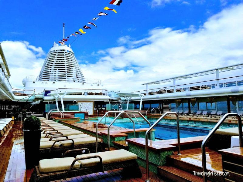 "Everything you could ever want (and more!) is under one ""roof"" from dining to activities to a simple lap around the rooftop pool. Pictured here Regent Seven Seas Explorer cruise"
