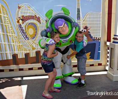 My grandkids loved character meet-ups at Disneyland including photo opp with Buzz Lightyear on their first Disney visit in 2014.