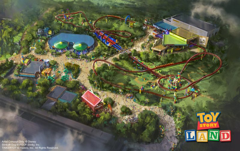 The reimagining of Disney's Hollywood Studios will take guests to infinity and beyond, allowing them to step into the worlds of their favorite films, starting with Toy Story Land. This new 11-acre land will transport guests into the adventurous outdoors of Andy's backyard. Guests will think they've been shrunk to the size of Woody and Buzz as they are surrounded by oversized toys that Andy has assembled using his vivid imagination. Using toys like building blocks, plastic buckets and shovels, and game board pieces, Andy has designed the perfect setting for this land, which will include two new attractions for any Disney park and one expanded favorite.