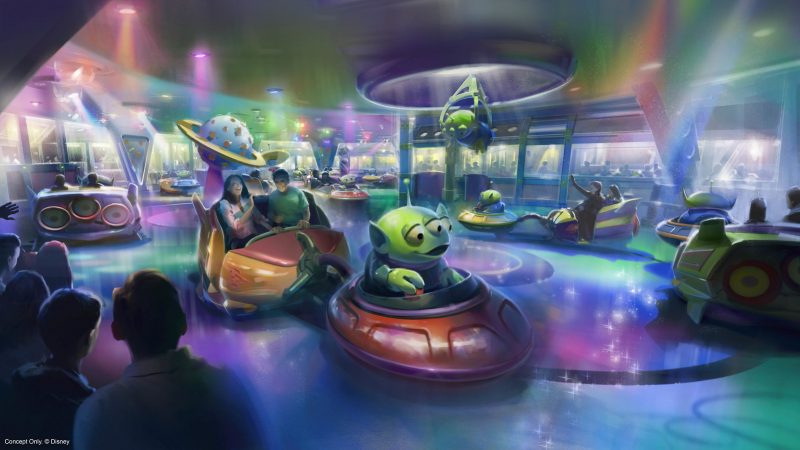Take a spin aboard Alien Swirling Saucers, one of the family-friendly rides at the 11-acre Toy Story Land opening June 30, 2018. (Disney) (PRNewsfoto/Walt Disney World)