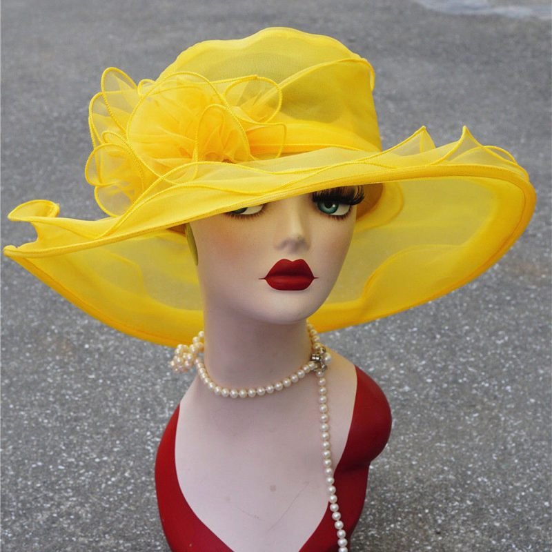 Chirpa Womens Kentucky Derby Wide Brim Wedding Church Occasional Organza Sun Hat