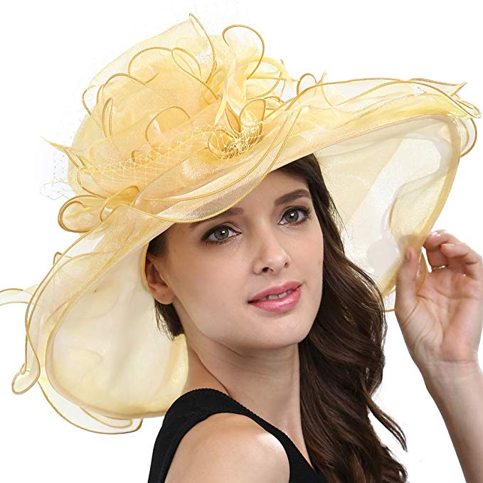 Original One Women's Organza Feather/Veil Kentucky Derby Hat