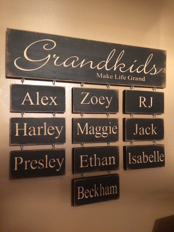Personalized Gifts from grandchildren to Grandma - carved wood sign with grandchildren names. Photo credit: Etsy