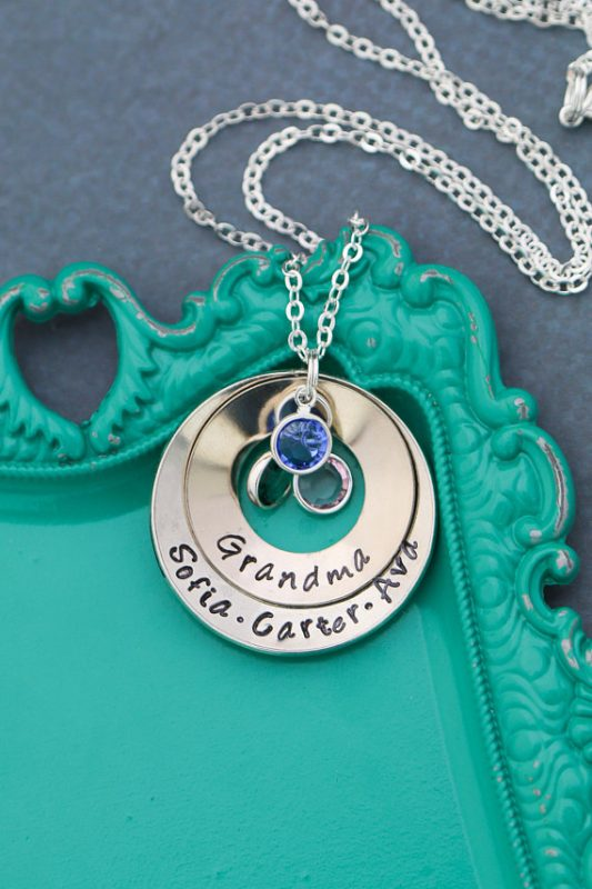 Grandma will proudly display her grandchildren and their birthstones in this lovely personalized necklace. Photo credit: Etsy