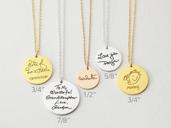 Classic handwriting disc necklace is the perfect gift for grandmom for any occasion. Photo credit: Etsy
