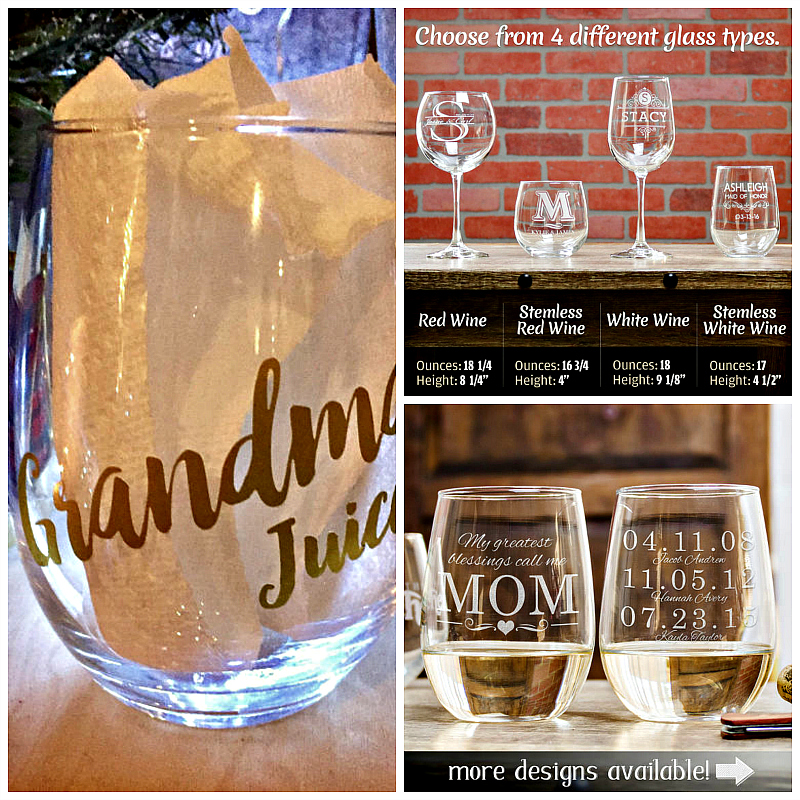 Etsy features many personalized wine glasses, perfect gifts for the wine loving Grandmom in your life. Photo credit: Etsy
