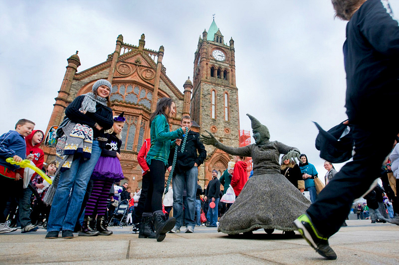 Experience Halloween in Ireland on the Banks of the Foyle Halloween Carnival. Photo: Vagabond Tours of Ireland