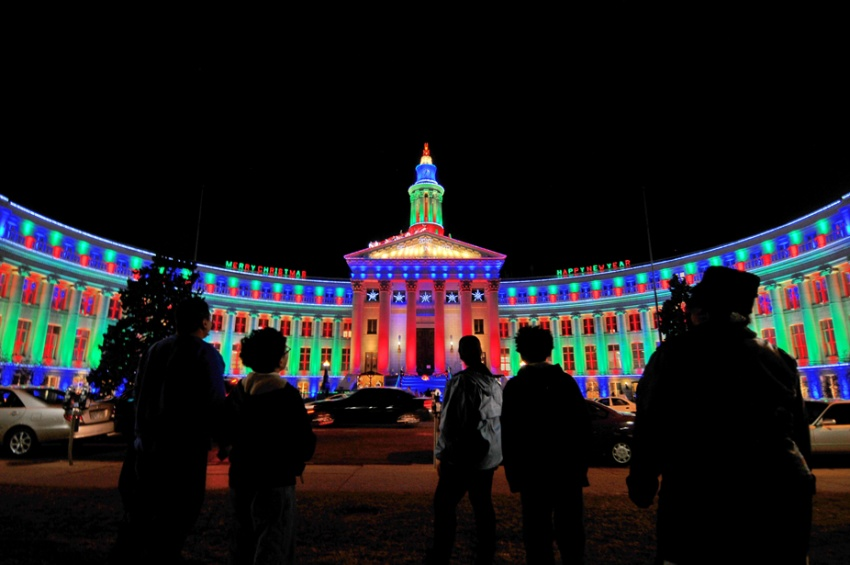 During the holiday season the City & County building is lit up with festive lights Photo credit: VISIT DENVER