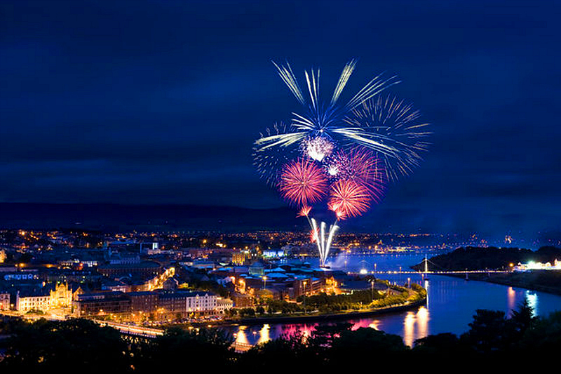 Derry Halloween's Return of the ancients includes a fireworks show. Photo: Vagabond Tours of Ireland