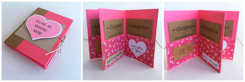Celebrate Moms, Grandmas, and more with a cute mini book that can hold coupons, or love you because cards. #giftsforgrandparents
