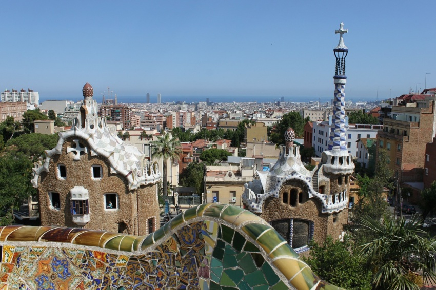 The Park Güell is a public park system composed of gardens and architectonic elements located on Carmel Hill, in Barcelona, Catalonia, Spain