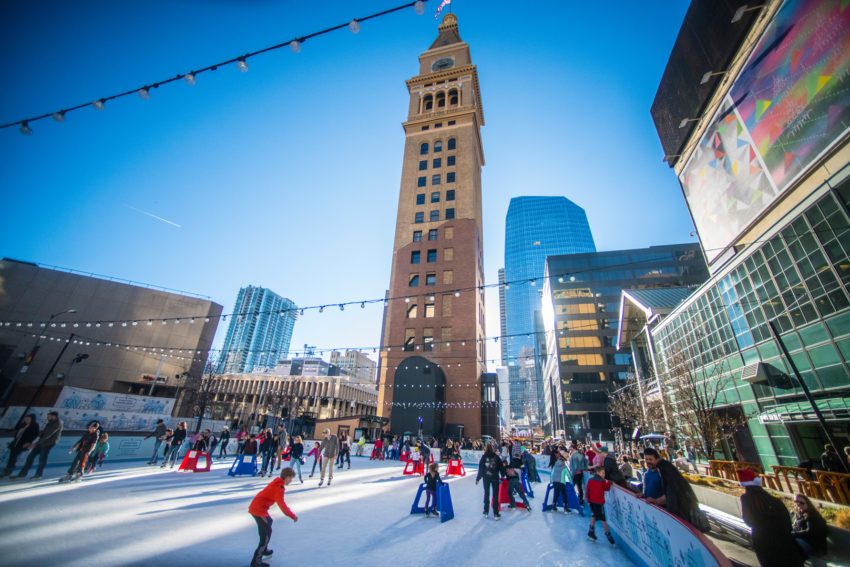 From the end of November to mid-February, enjoy free ice skating on the Southwest Rink at Skyline Park each year to celebrate Denver's winter wonderland. Photo: VISIT DENVER