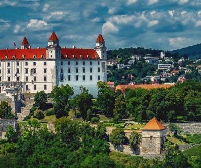 When cycling in Slovakia, The castle, on a hill above the old town, dominates the city of Bratislava.