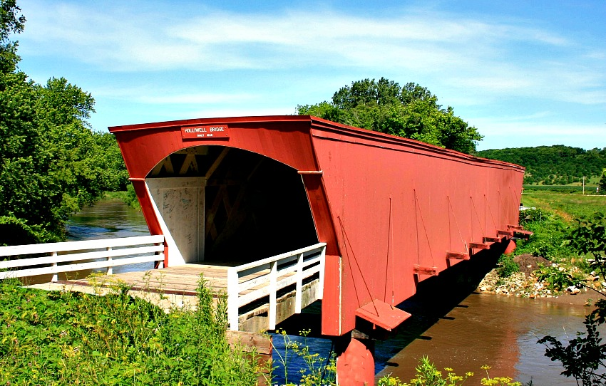 Featured in the Bridge of Madison County movie, Holliwell is the longest covered bridge, measuring 122 feet.